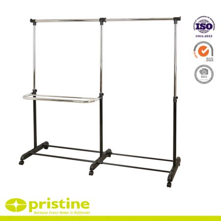 Adjustable Double Garment Rack Clothing Rail with Wheels - Metal clothes rack