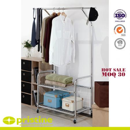 Garment Rack On Wheels with 2-Tier Storage Stand - Single-rail Garment Rack