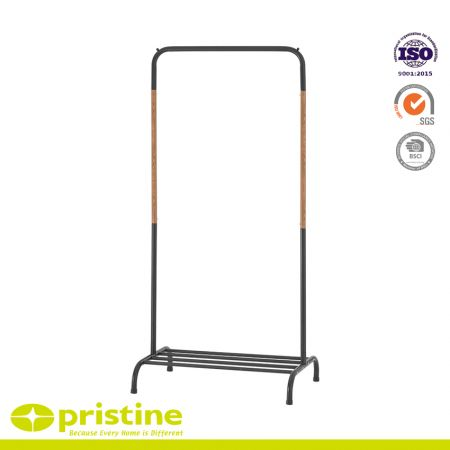 Garment Rack with Top Rod and Lower Storage Shelf - Sturdy metal construction with powder coating and beautiful faux wood grain
