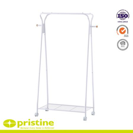 Clothes Rack on Wheels Rolling Garment Rack with Storage Shelves - White free-standing clothes organizer made of iron and covered with a powder coating to protect it from water and rust