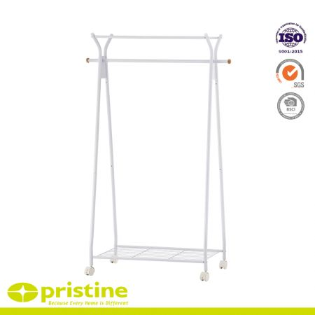 Rolling Single Bar Garment Rack with Top Shelf - White free-standing clothes organizer made of iron and covered with a powder coating to protect it from water and rust