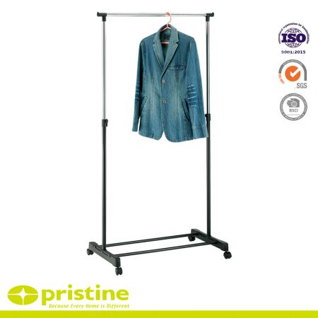 Adjustable Single Rail Clothes Garment Rack - Heavy Duty Steel Clothes Rail