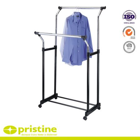 Adjustable Double Rails Clothing Garment Racks - Adjustable double rails clothing garment Rack