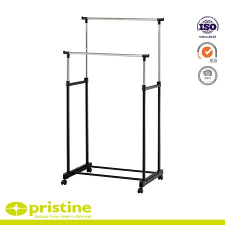 Double Rail Adjustable Rolling Garment Rack - Heavy Duty Steel Clothes Rail