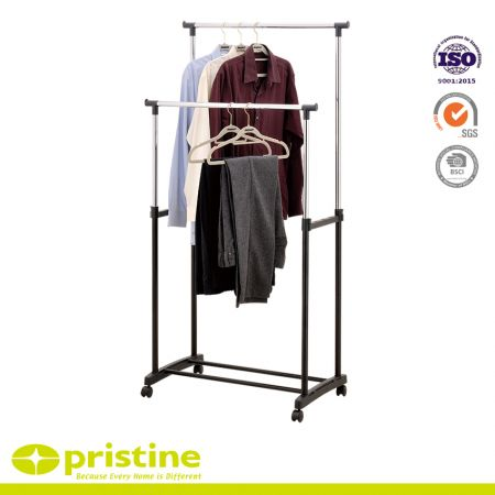 Adjustable Double Rod Rolling Clothing Rack - Simple solution for added garment storage.