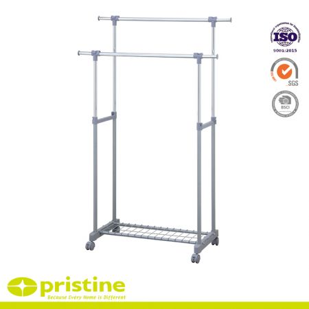 Garment Rack with Shoe Rack Double Rail Adustable Rolling Clothes Laundry Rack - Adjustable garment rack
