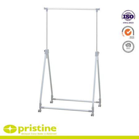 Adjustable and Foldable Clothes Hanging Rack On Wheels - Stabilisation braces on both sides