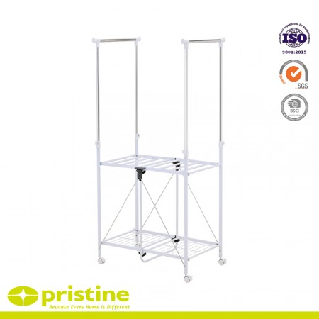 Collapsible Double-Bar Garment Rack - From extra storage space to a mobile drying center to airing out sports equipment, the Greenway Collapsible Garment Rack is up for the task