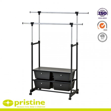 Double Garment Rack with 4-PP Drawer - Heavy duty steel clothes rail