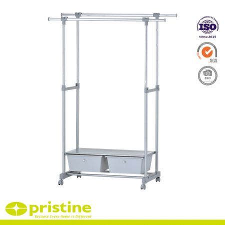 Adjustable Rolling Clothes stand with 2 Drawer and 1 metal board - clothes stand bedroom