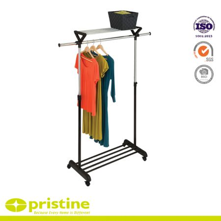 Single Bar Garment Rack with Top Shelf - Great for those who need extra hanging storage space