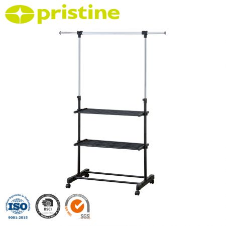 Single Rod Extendable Clothes Rack on Wheels with 3-Tier Shelves - The 2 tier shelves and 2 lower bars are a perfect place to store shoes or other accessories