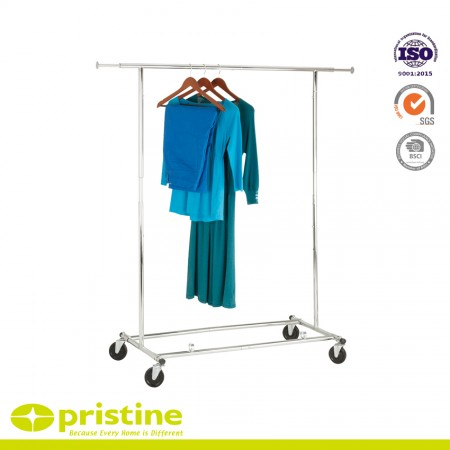 Rolling Garment Rack Collapsible Clothing Hanging Rack on Wheels - Heavy Duty Steel Clothes Rail