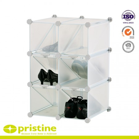 Interlocking Storage Shoe Rack Organizer - Makes 6 large storage compartments boxes cubes with divider for 12 pair shoes