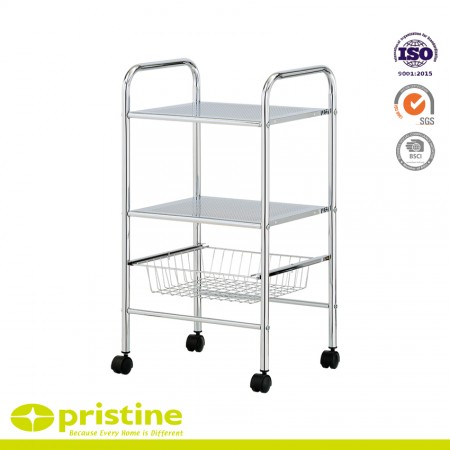 3 Tier Metal Trolley with 1-Bar - Sturdy and durable design made of Chrome plated steel
