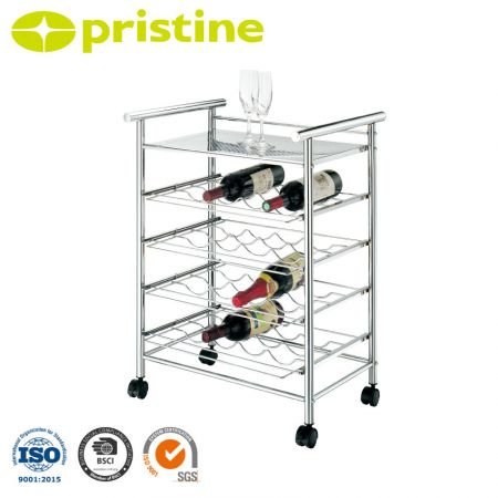 Bar Cart with Wine Rack - The high quality steel pedestal ensures stability and durability.