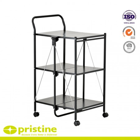 3 Tier Kitchen Cart with Chrome Folding Utility Table - Folding kitchen cart rolls where needed and stores flat with black powder coating finish
