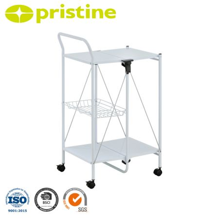 Kitchen Cart with Folding Utility Table - Folding kitchen cart rolls where needed and stores flat