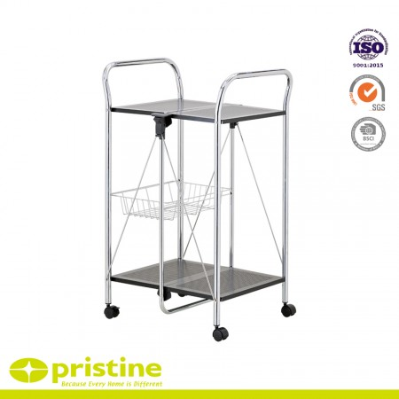 Kitchen Cart with Chrome Folding Utility Table - Folding kitchen cart rolls where needed and stores flat