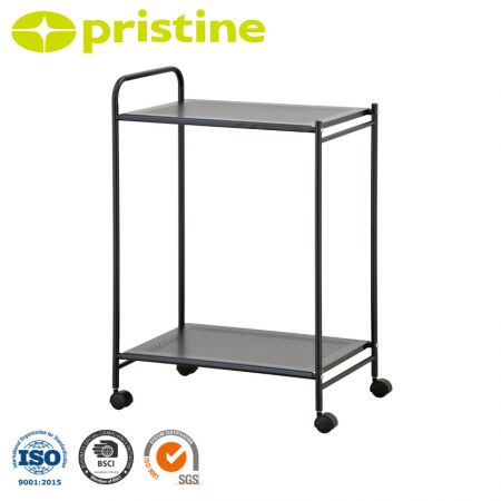 Kitchen Cart with Metal Shelf - It is made of high quality steel and has the feature of anti-rust.