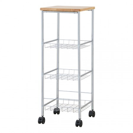 Kitchen Trolley with Rubber Wood On The Top - Perfect for many occasions: bathroom, bedroom, kitchen, office and so on.
