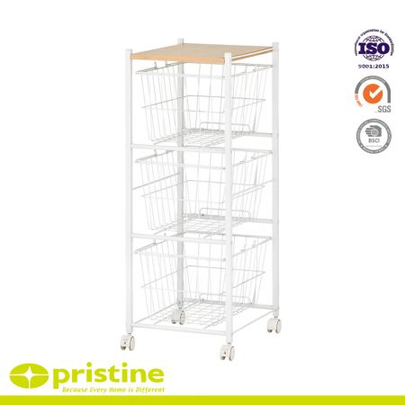3-Tier Wire Basket Rolling Storage Cart - Metal storage baskets cart on wheels