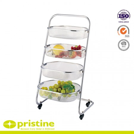 4 Mesh Basket Rack - 4-tier basket with classic chrome design and ideal for kitchen storage