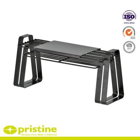Armoire de cuisine empilable et organisateur d'étagère de comptoir - Étagère de comptoir de cuisine à armature en fil métallique extensible