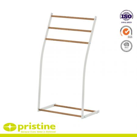 Free Standing Towel Rack With Wood Grain - towel hanger