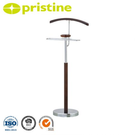 Metal and Wooden Suit Rack Stand - Chrome and wood structure with a heavy base for stability and prevents to tip over.