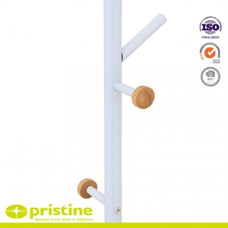 Contemporary free-standing tree branch style wood and metal coat rack stand