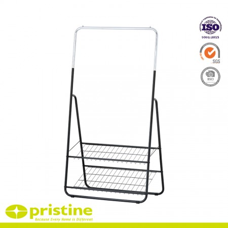 Single Rod Clothes Rack with 2-Tier Shelves - Clothes Hanging Stand