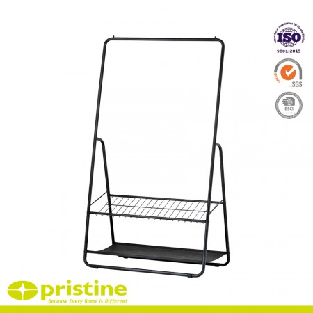 Single Rod Clothes Rack with 2-Tier Shelves - Clothes stand