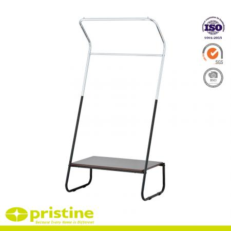 Double Rails Clothing Rack with MDF Board - Double rails clothing rack.