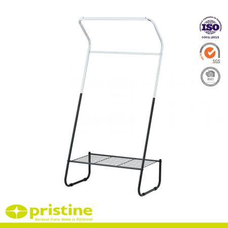 Double Rails Clothing Rack with Mesh - Double rails clothing rack.
