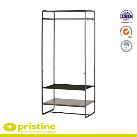 Multifunctional Hanger Rack with Mesh Board - Large black hangers combine cloth with MDF board