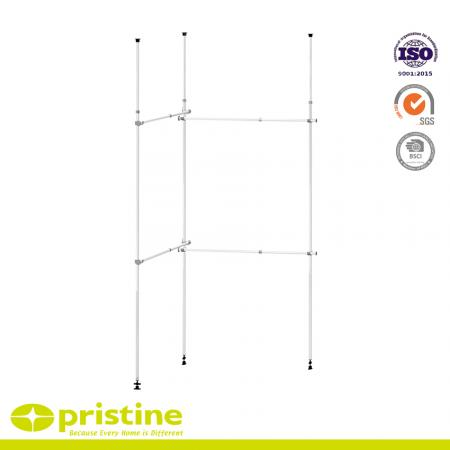 Telescopic Double 2 Tier Adjustable Hanger System - Free standing double pole multi-functional telescopic clothes rack