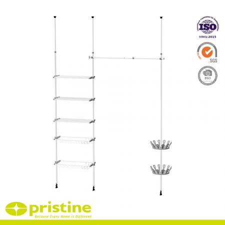 Telescopic Clothes Hanger and Shoe Rack Width Adjustable - Adjustable telescopic clothes hanger shelf and shoe holder.