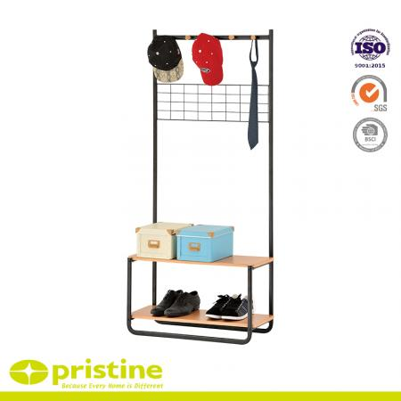 Multifunctional garment rack with mesh