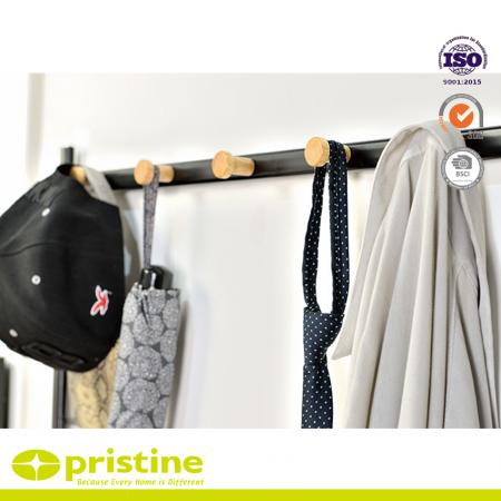 This heavy duty garment rack features 5 round-headed wood hooks with protective to hold jackets, backpacks, bags, hats, umbrellas, scarves and more