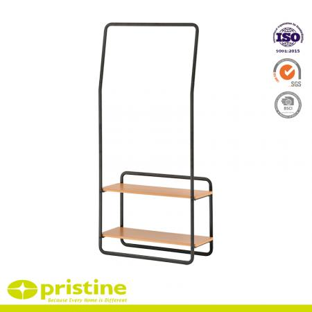 Multifunctional Single Rail Clothing Rack - This hanger has many additional features and is integrated with the MDF board