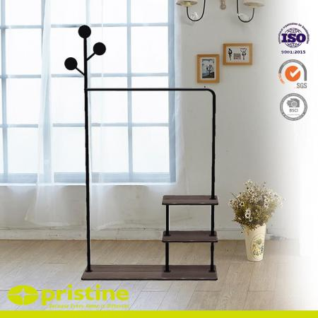 Portable Clothes Hanger Stand with 2 Tier Shelves - This garment rack has 3 hooks on 3 tiers. It can hold all your clothes at ease