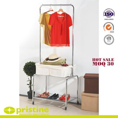 Laundry Cart Rolling On Wheels With Hanging Rack - Metal frame and hanging bar holds all your laundry and supplies.