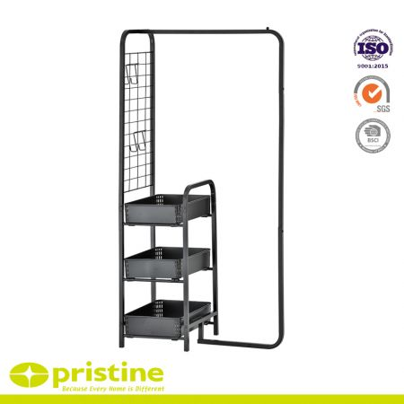 Metal Garment Rack with 3-Tier Shelves and Side Racks - Convenient clothing rack provides an easy solution to clothing storage in small spaces