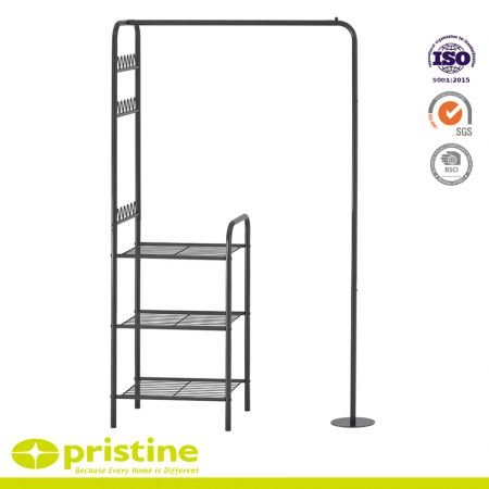 Metal Garment Rack with 3-Tier Wire Shelves and Side Racks - Sturdy metal construction with powder coating