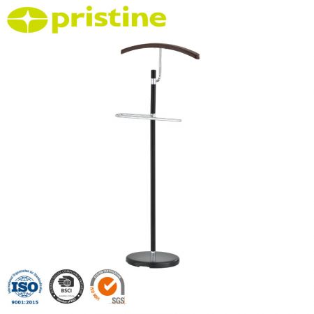 Wooden Suit Valet Stand - A sophisticated, freestanding suit valet made of chrome plated metal and wood.