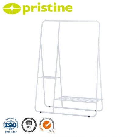 Single Clothes Rack with Wire Shelf - Build with heavy duty steel, elegant white paint and steel wire.