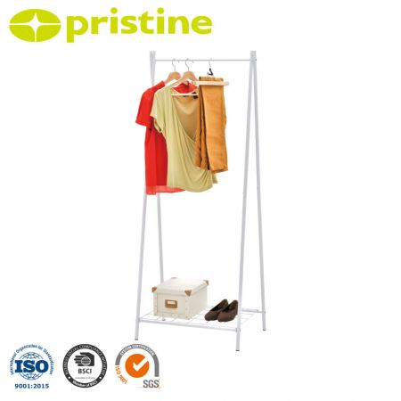 Foldable Single Garment Rack - Build with heavy duty steel, elegant white paint and steel wire.