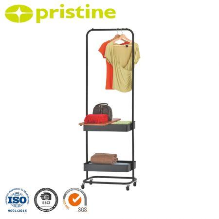 Cintre avec panier en métal - Design simple et élégant, vêtements suspendus et rangement de vos essentiels quotidiens, fournitures pour enfants et plus encore.