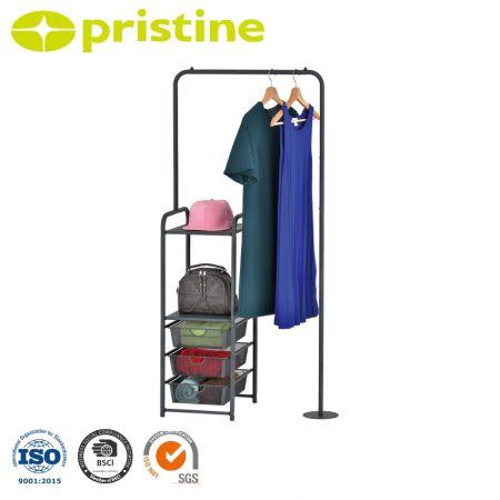 حامل ملابس متعدد الأغراض - يوفر رف الملابس الملائم حلاً سهلاً لإنشاء مساحة تخزين إضافية في المساحات الصغيرة.